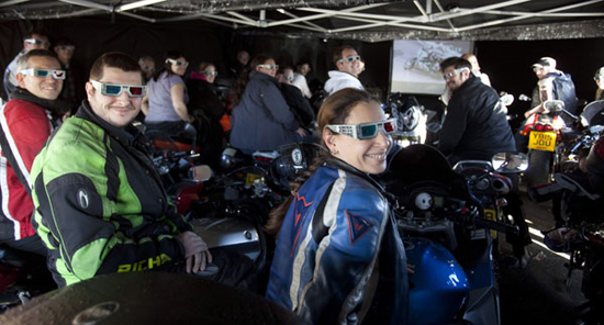 Rogue Mag Motorsport - Worlds first ride in screening held at Ace Cafe for DVD launch of Cinemanx TT3D while TT stars Conor Cummins and Richard Milky Quayle meet fans on Isle Of Man